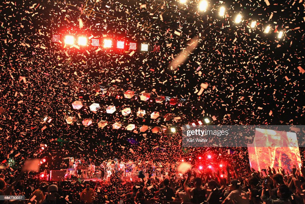 Arcade Fire performs onstage during day 3 of the 2014 Coachella Valley Music & Arts Festival at the Empire Polo Club on April 13, 2014 in Indio, California.