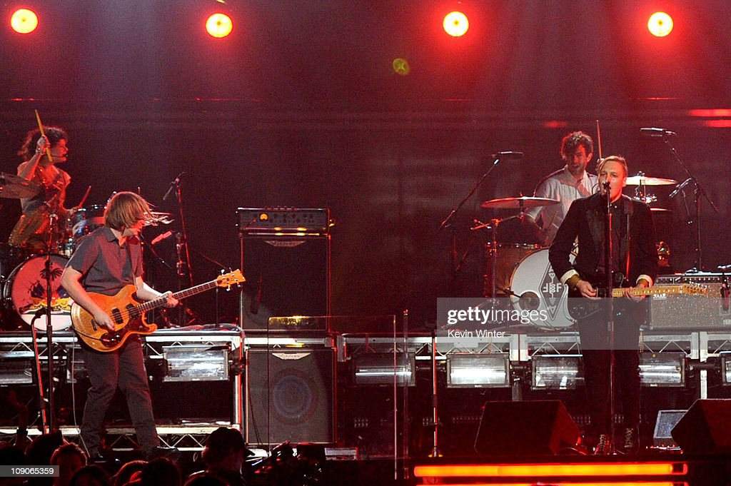 Arcade Fire performs onstage during The 53rd Annual GRAMMY Awards held at Staples Center on February 13, 2011 in Los Angeles, California.