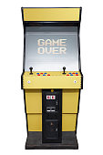 Vintage video game with Game Over screen isolated on white
