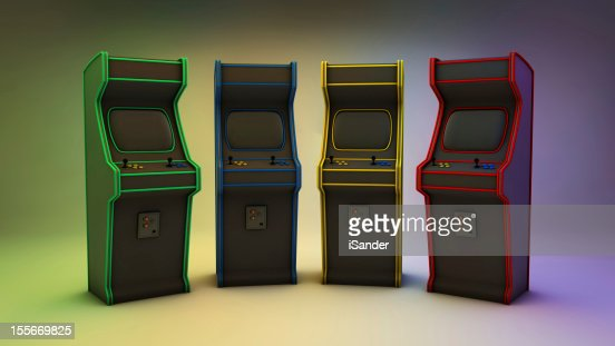 Arcade Games 4 Colors Frontal : Stock Photo