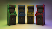A 3D render of four retro looking arcade video game machines in four different colors with a nice background.