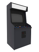 A isolated blank coin operated arcade machine.