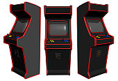 A classic and retro looking 3D rendered video arcade machine. Isolated on a white background, with basic colors for easy editing. Rendered from 3 angles, on one image.