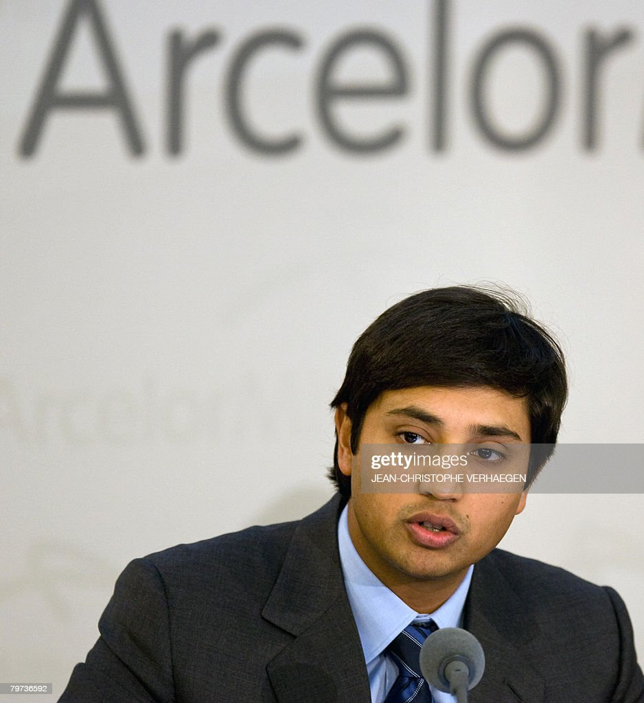 ArcelorMittal Chief Financial Officer Aditya Mittal gives a press conference to announce the 2007 company's results of during a meeting at...