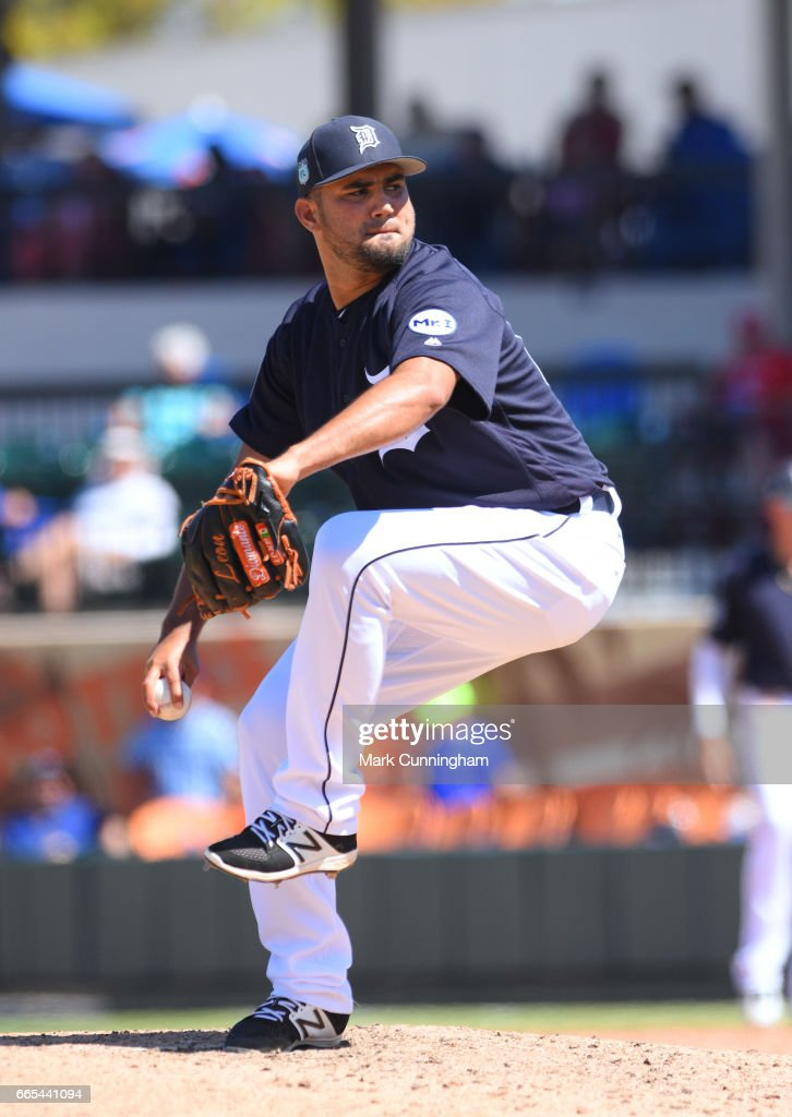 Arcenio Leon #85 of the Detroit Tigers pitches during the Spring Training game against the New York Mets at Publix Field at Joker Marchant Stadium on March 20, 2017 in Lakeland, Florida. The Tigers defeated the Mets 5-1.