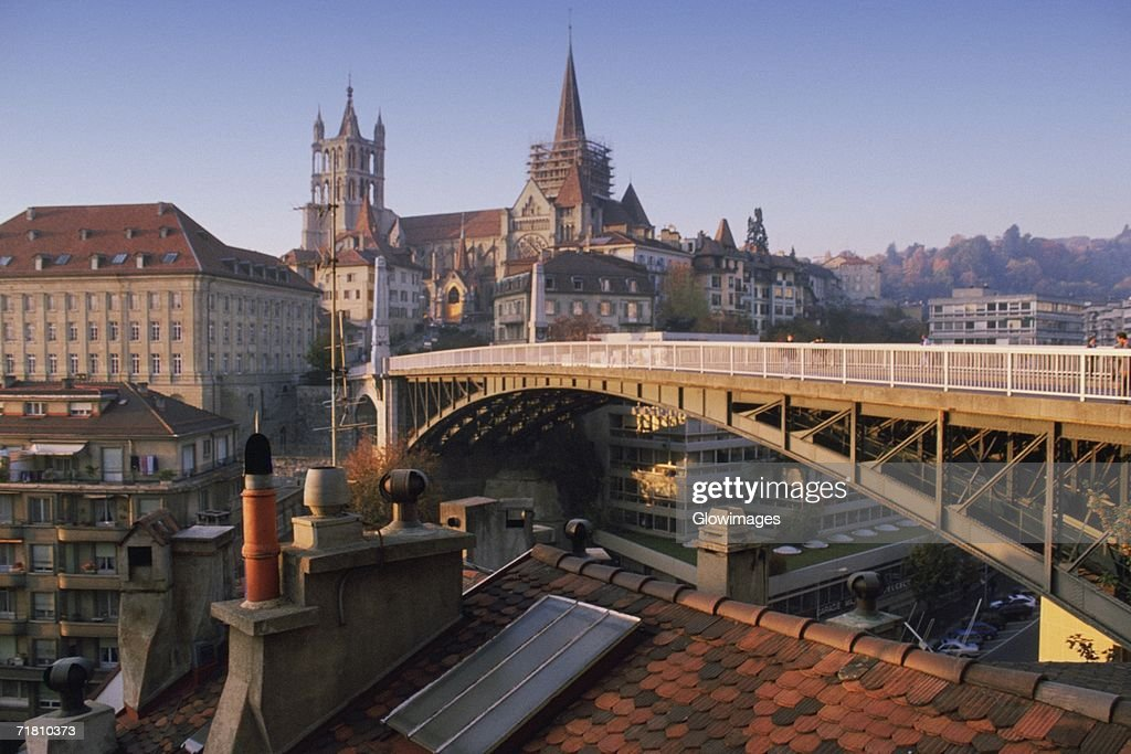 Arch bridge in a city, Lausanne, Vaud, Switzerland