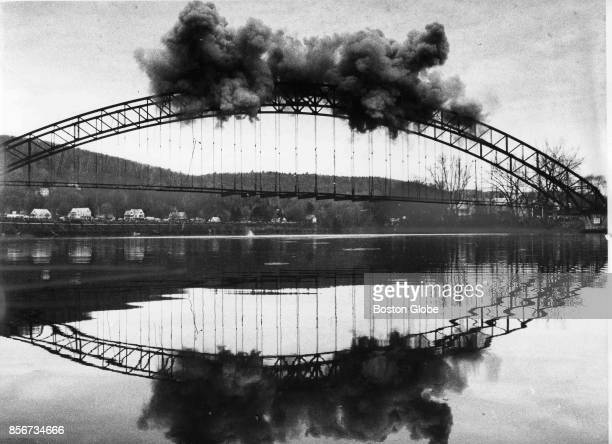 Arch Bridge over the Connecticut River between Bellows Falls Vt and Walpole NH survives a preplanned blast on Dec 5 1982