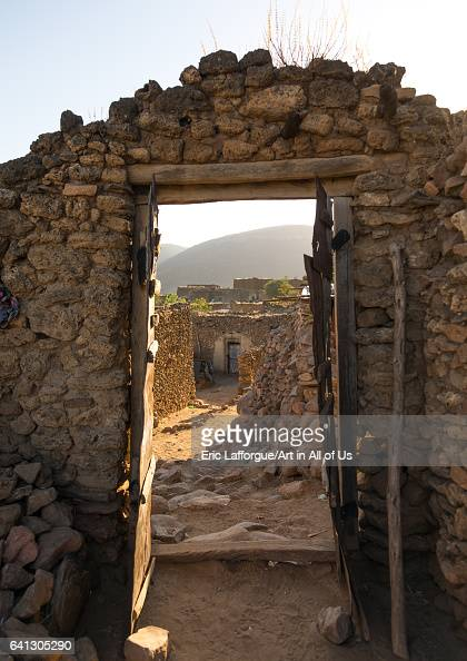 Arch in a traditional Argoba stone houses village on January 12 2017 in Koremi Ethiopia