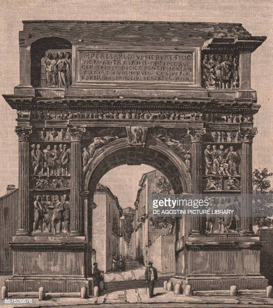 Arch of Trajan Benevento Campania Italy woodcut from Le Cento citta d'Italia illustrated monthly supplement of Il Secolo Milan 1891