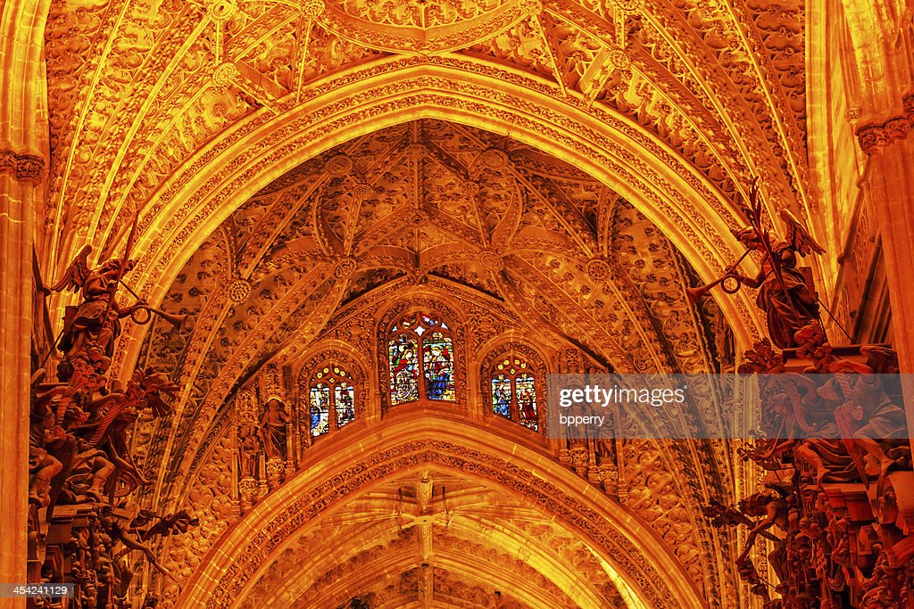 Arch Stained Glass Statues Seville Cathedral Andalusia Spain : Stock Photo