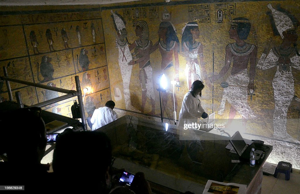 Archaeological conservationists and scientists from the Getty Conservation Institute assess the status of the tomb of Tutankhamen in the Valley of the Kings in Egypt's southern ancient city of Luxor on November 22, 2012. November marks the 90th anniversary of the discovery of Tutankhamen's tomb.
