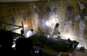 Archaeological conservationists and scientists from the Getty Conservation Institute assess the status of the tomb of Tutankhamen in the Valley of...
