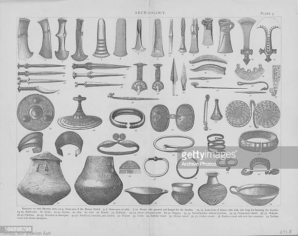 Archaeological remains of the Bronze Age including stone weapons bronze weapons jewelry and a variety of vessels