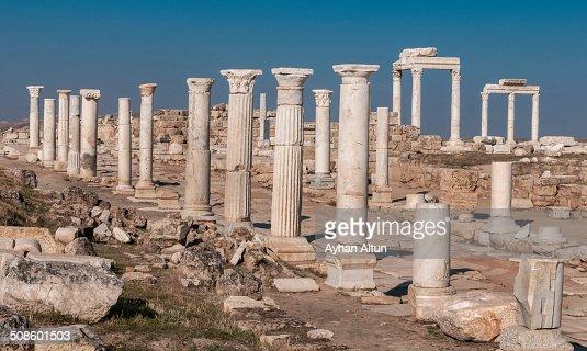 Archaeological site of Laodikeia in Denizli : Stock Photo