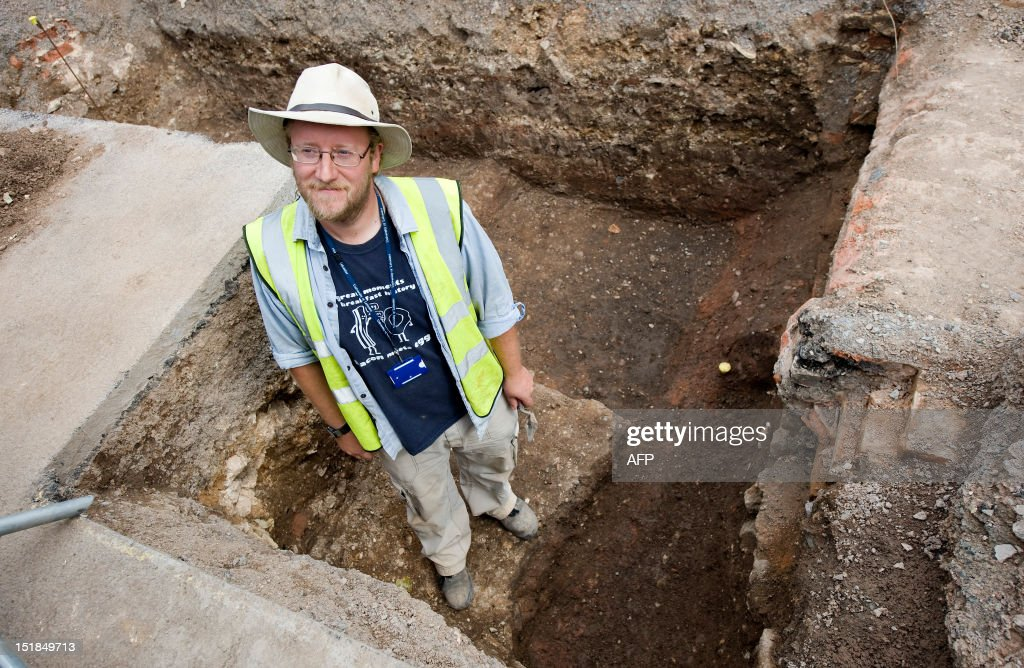 Archaeologist Mathew Morris of the University of Leicester poses for pictures in central England, on September 12, 2012, at a site where a skeleton that researchers believe could be British medieval king Richard III was found. Researchers from the University of Leicester said they had found a male skeleton with similarities to historical descriptions of Richard, who ruled England between 1483 and his death in battle in 1485. The remains, which are well preserved, are undergoing DNA analysis. 'What we have uncovered is truly remarkable,' said Richard Taylor, the university's director of corporate affairs. AFP PHOTO / Gavin Fogg