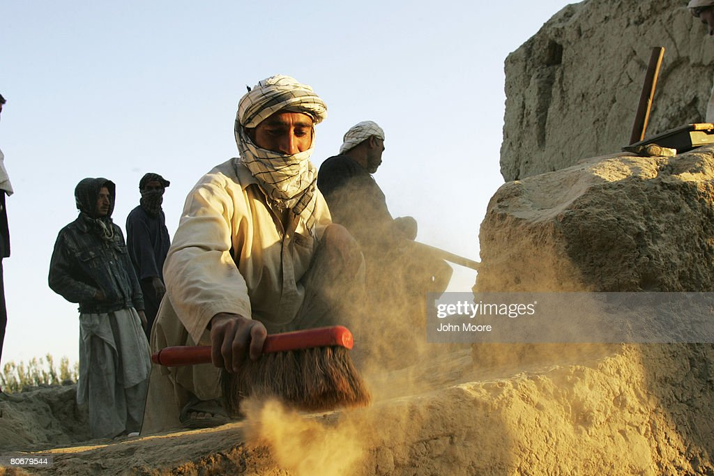 Archaeologists at work on October 12 2006 at Balkh Afghanistan The French Archaeological Delegation to Afghanistan is excavating in the area...