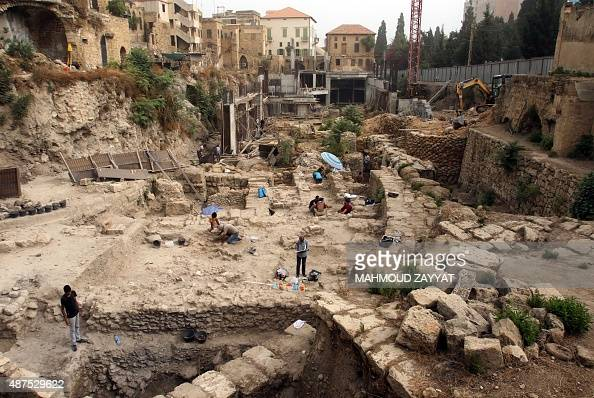 Archaeologists from the British Museum team excavate at the Freres College site in the southern Lebanese city of Sidon on September 10 after the team...