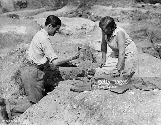 Archaeologists Kathleen Kenyon and CN Goodman examining pieces of Roman pottery discovered on the site A nearly complete Roman theatre has been...