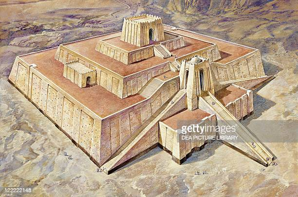 Archaeology Southern Iraq Ur Reconstructed ziggurat Colour illustration