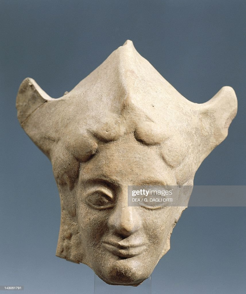 Archaic head of Athena wearing a helmet sculpture from Siris Basilicata Italy Ancient Greek civilization Magna Graecia 7th6th Century BC Policoro...