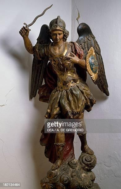Archangel Michael polychrome and gilded wood statue Roman manufacture Italy 17th century Sanluri Museo Del Risorgimento Duca D'Aosta