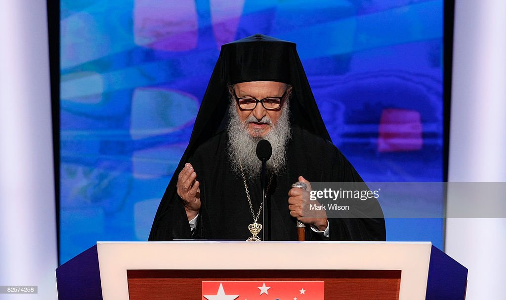 Archbishop Demetrios Primate of the Greek Orthodox Church performs the invocation during day three of the Democratic National Convention at the Pepsi...