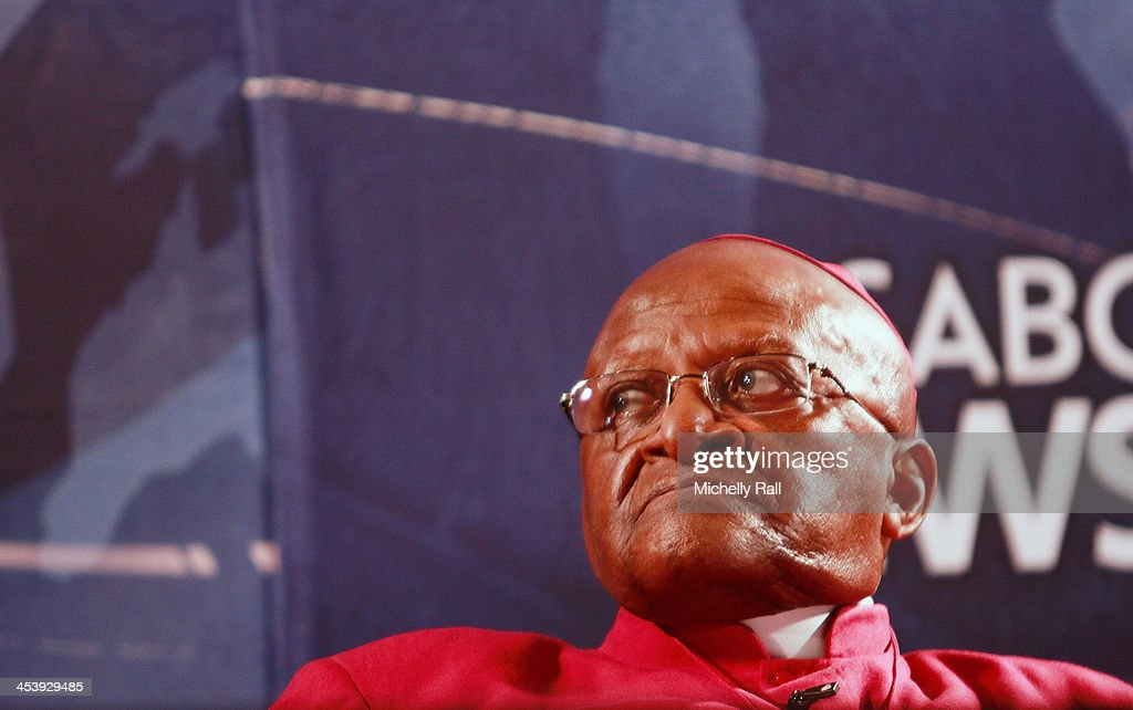 Archbishop <a gi-track='captionPersonalityLinkClicked' href=/galleries/search?phrase=Desmond+Tutu&family=editorial&specificpeople=214730 ng-click='$event.stopPropagation()'>Desmond Tutu</a> holds a press conference at the SABC Studios in memory of former South African President Nelson Mandela on December 6, 2013 in CapeTown, South Africa. Mandela was a leader that helped conquer apartheid in racially divided South Africa after being jailed for his activism for decades. He was South Africa's first black president. He died yesterday at the age of 95.