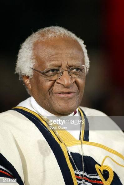 Archbishop Desmond Tutu speaks during the Palm Sunday mass at St Sabina's church April 4 2004 in Chicago Illinois Civil rights leader Rev Jesse...