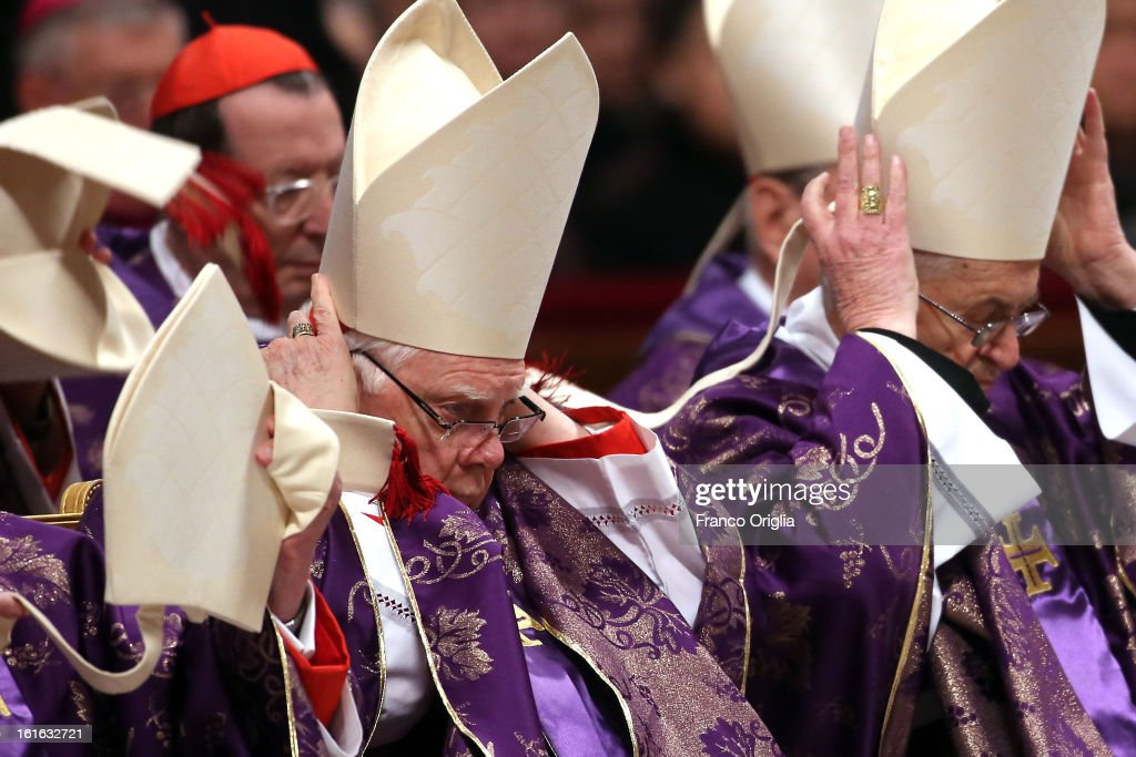 Archbishop emeritus of Boston Cardinal Bernard Law (L) attends the Ash Wednesday service held by Pope Benedict XVI at St. Peter's Basilica on February 13, 2013 in Vatican City, Vatican. Ash Wednesday opens the liturgical 40-day period of Lent, a time of prayer, fasting, penitence and alms giving leading up to Easter.