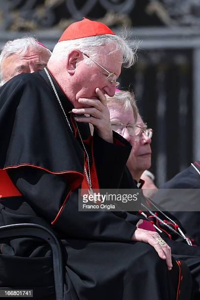 Archbishop Emeritus of Westminster cardinal Cormac MurphyO'Connor attends the weekly audience held by Pope Francis in St Peter's square on April 17...