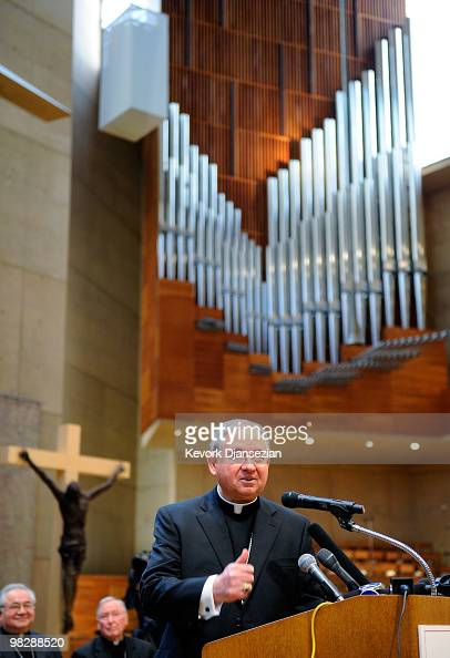 Archbishop Jose Gomez of San Antonio Texas speaks during a news conference at cathedral of Our lady of the Angeles on April 6 2010 in Los Angeles...