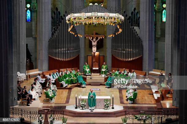 Archbishop of Barcelona Cardinal Joan Josep Omella celebrates a mass to commemorate victims of two devastating terror attacks in Barcelona and...