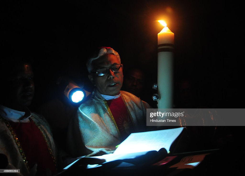 Archbishop of Bhopal Leo Cornelio leading Easter mass at St Francis Cathedral on April 5 2015 in Bhopal India Easter is a festival and holiday...