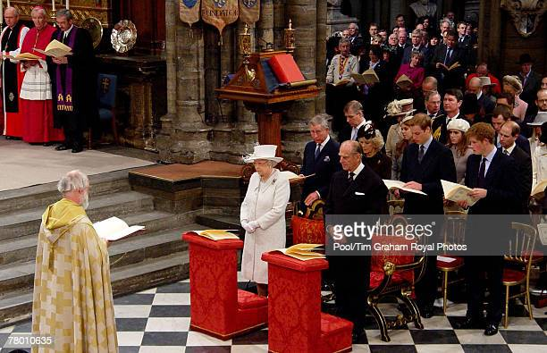 Archbishop of Canterbury Dr Rowan Williams leads a service of thanksgiving to celebrate Queen Elizabeth II and Prince Philip Duke of Edinburgh's...