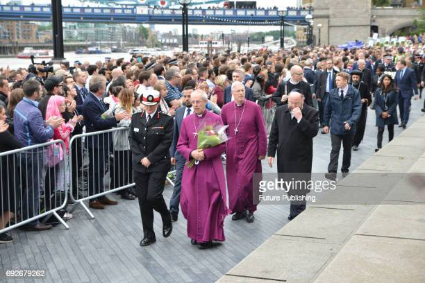 Archbishop of Canterbury join other faith leaders for a vigil for the victims of the London Bridge terror attacks in Potters Fields Park on June 5...
