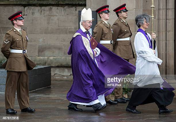 Archbishop of Canterbury Justin Welby arrives at Leicester Cathedral for the reinterment ceremony of King Richard III on March 26 2015 in Leicester...
