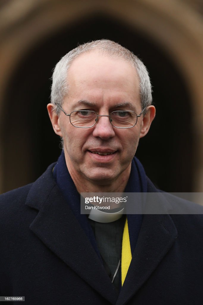 Archbishop of Canterbury <a gi-track='captionPersonalityLinkClicked' href=/galleries/search?phrase=Justin+Welby&family=editorial&specificpeople=9960447 ng-click='$event.stopPropagation()'>Justin Welby</a> arrives at the House of Lords on February 26, 2013 in London, England. Today marks the Archbishop's first day as the Archbishop of Canterbury in the House of Lords.