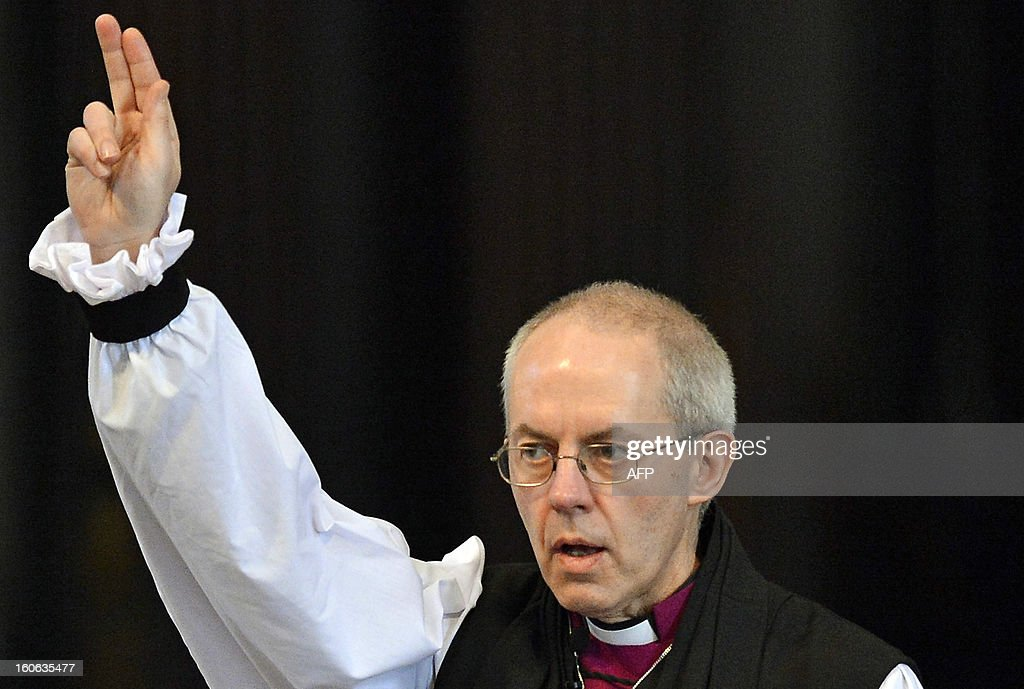 Archbishop of Canterbury Justin Welby gives a blessing at the close of the ceremony confirming his election as Archbishop at St Paul's Catheral in central London on February 4, 2013. The ceremony, known as the Confirmation of Election, forms part of the legal process by which Welby replaces his predecessor, Rowan Williams, as Archbishop of Canterbury. AFPP