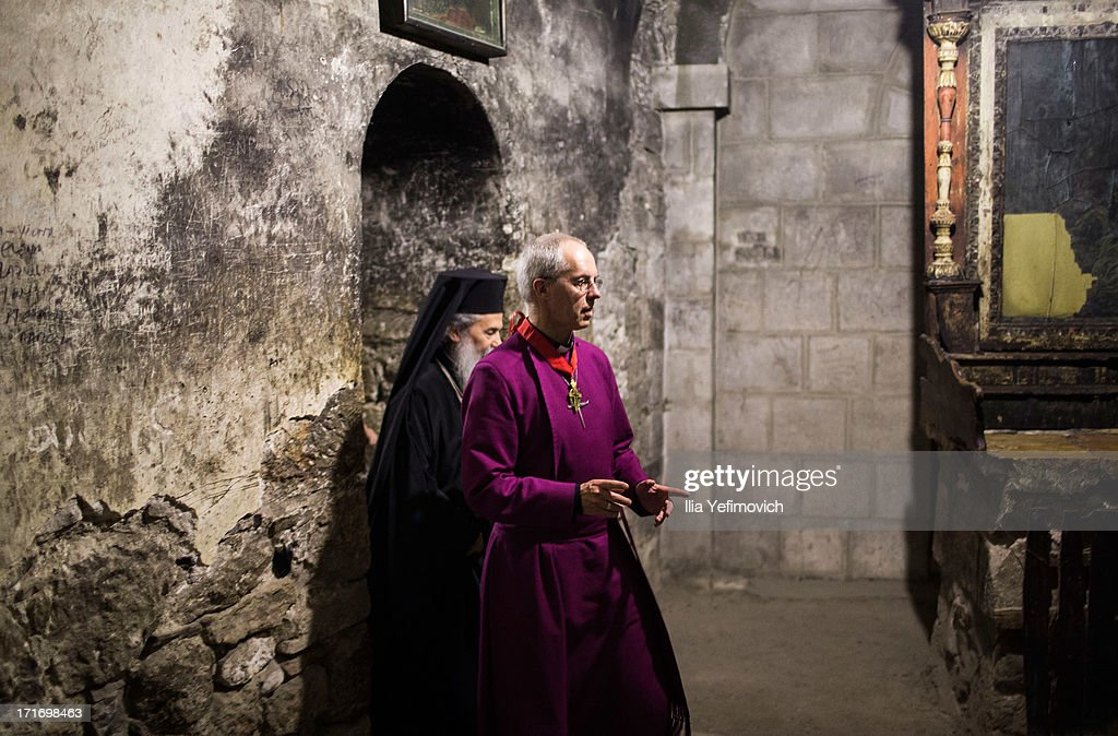 Archbishop of Canterbury <a gi-track='captionPersonalityLinkClicked' href=/galleries/search?phrase=Justin+Welby&family=editorial&specificpeople=9960447 ng-click='$event.stopPropagation()'>Justin Welby</a> (R) is accompanied by the Orthodox Patriarch of the Jerusalem Church, Theophilos III during his visit to the church of the Holy Sepulchre on June 28, 2013 in Jerusalem's Old City, Israel. The Most Reverend <a gi-track='captionPersonalityLinkClicked' href=/galleries/search?phrase=Justin+Welby&family=editorial&specificpeople=9960447 ng-click='$event.stopPropagation()'>Justin Welby</a> is on a five-day tour of Egypt and the Holy Land to visit a number of leaders and famous sites.