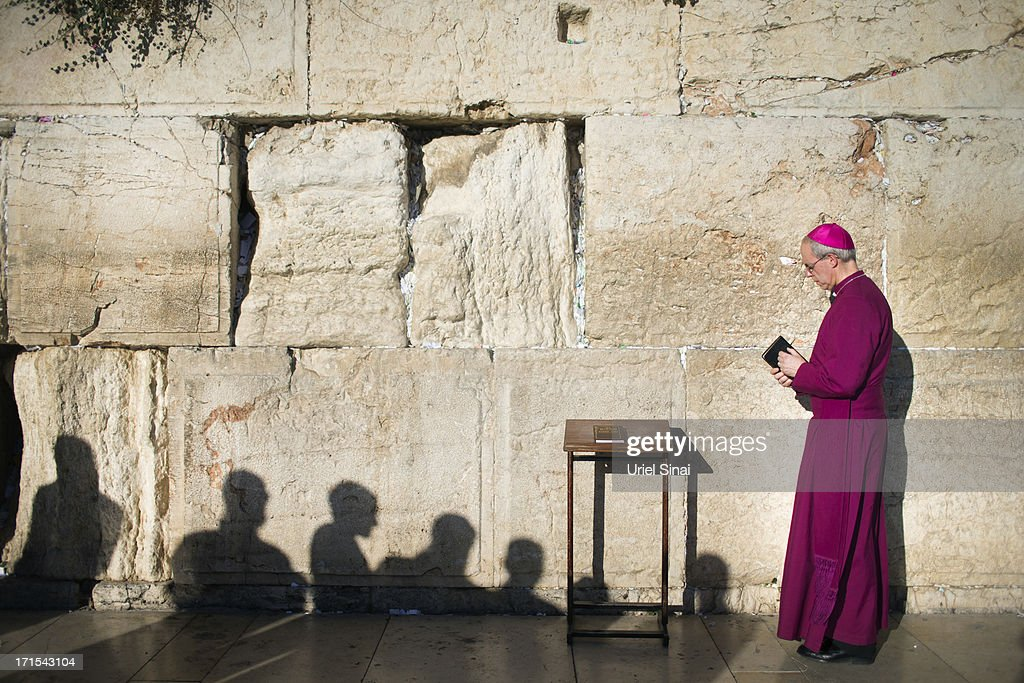 Archbishop of Canterbury Justin Welby prays at the Western wall on June 26 2013 in Jerusalem's old city Israel The Most Reverend Justin Welby is on a...