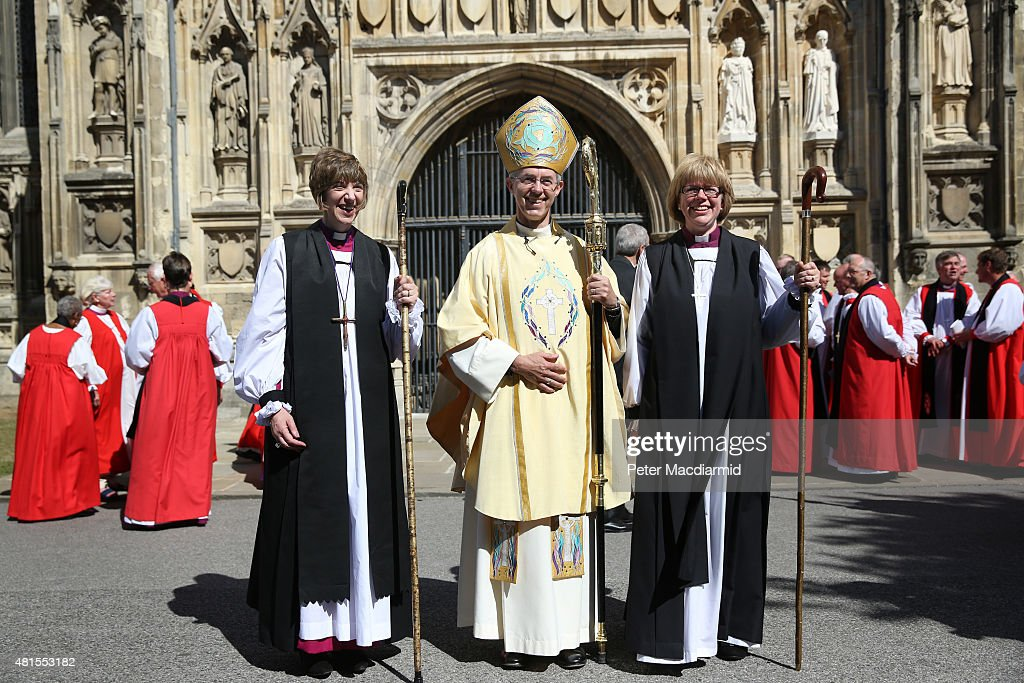 Archbishop of Canterbury, Justin Welby (C), stands with newly consecrated Rachel Treweek, Bishop of Gloucester and Sarah Mullally, Bishop of Crediton, at Canterbury Cathedral on July 22, 2015 in Canterbury, England. The consecration makes Rachel Treweek the most senior female member of the Church of England. Previously, two women bishops have been appointed, but Mrs Treweek is the first woman who will run a diocese.