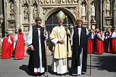 Archbishop of Canterbury Justin Welby stands with newly consecrated Rachel Treweek Bishop of Gloucester and Sarah Mullally Bishop of Crediton at...