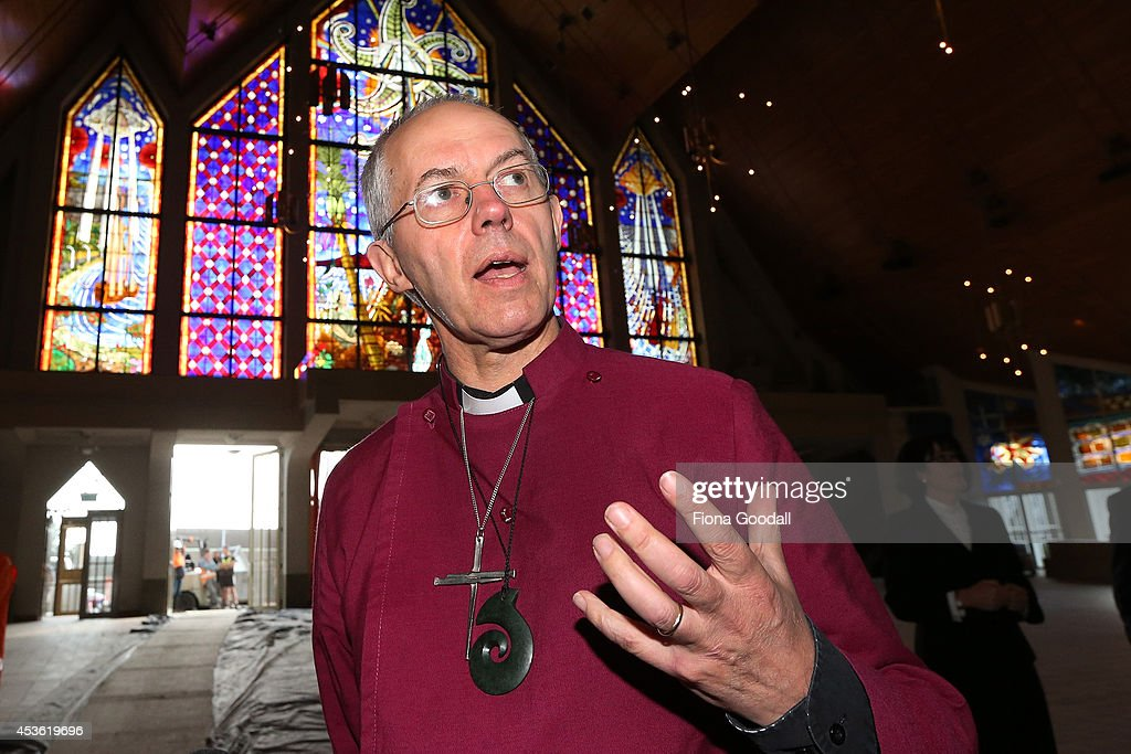 Archbishop of Canterbury, <a gi-track='captionPersonalityLinkClicked' href=/galleries/search?phrase=Justin+Welby&family=editorial&specificpeople=9960447 ng-click='$event.stopPropagation()'>Justin Welby</a> tours the refurbishments and unveils a foundation stone during a service at Holy Trinity Cathedral on August 15, 2014 in Auckland, New Zealand. The Archbishop, and his wife Caroline, are visiting New Zealand as part of a commitment to visit all Primates around the Anglican Communion during his first 18 months in office.