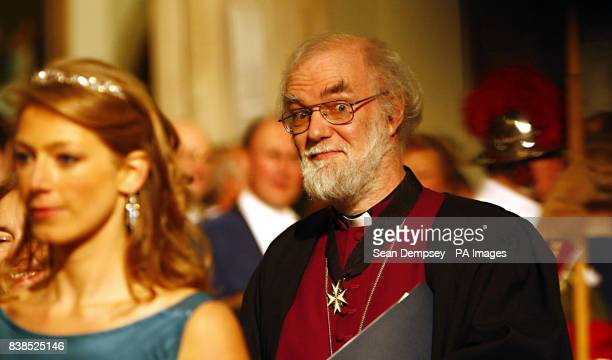 Archbishop of Canterbury Rowan Williams arrives in the Great Hall at the Guildhall in the City of London for the annual Lord Mayor's Banquet