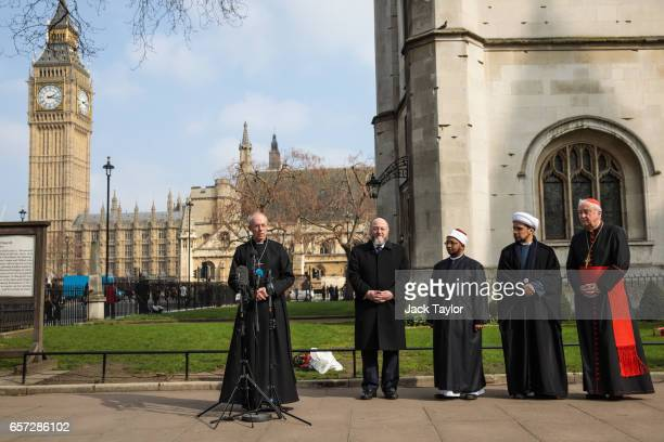 Archbishop of Canterbury the Most Rev Justin Welby Chief Rabbi Ephraim Mirvis Sheikh Ezzat Khalifa Sheikh Mohammed al Hilli and Cardinal Vincent...