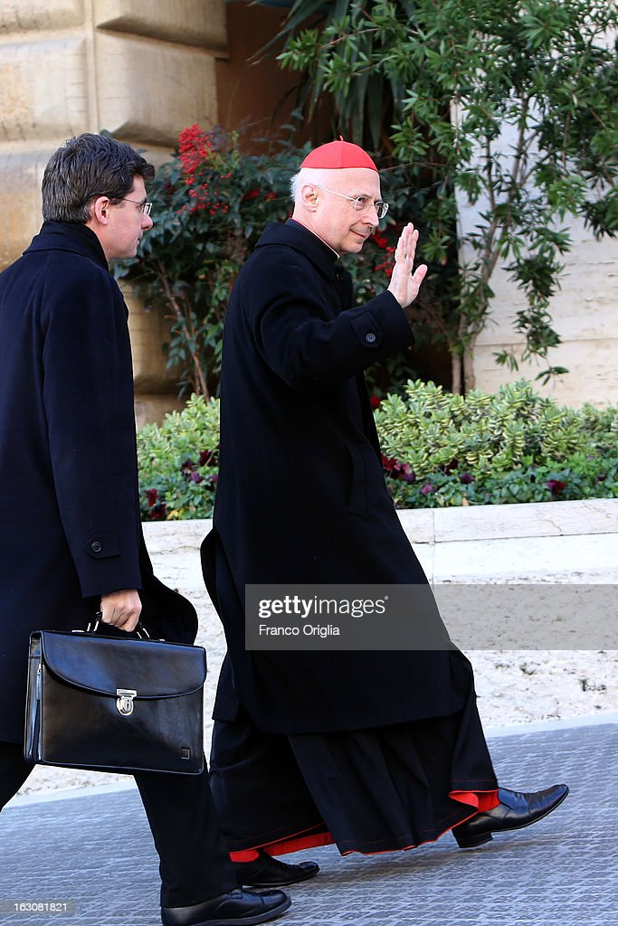 Archbishop of Genova cardinal Angelo Bagnasco arrives at the Paul VI hall for the opening of the Cardinals' Congregations on March 4, 2013 in Vatican City, Vatican.The congregations of cardinals will continue until all cardinal electors have arrived in Rome, whereupon the College will decide on the start-date of the Conclave to elect a new Pope.