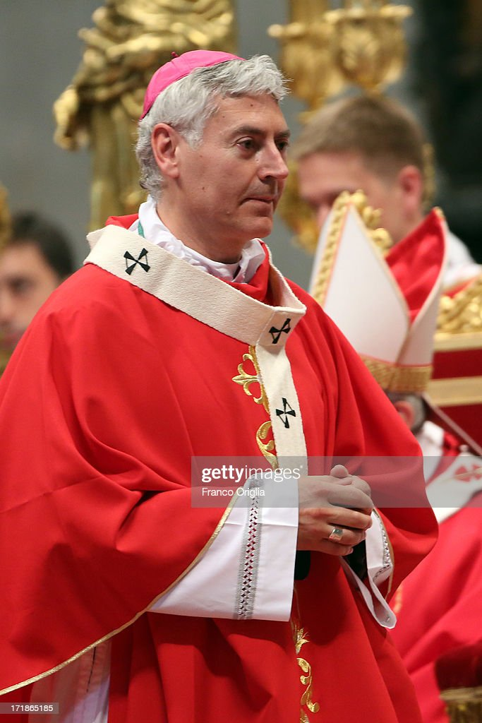 Archbishop of Keewatin-Le Pas (Canada) Murray Chatlain attends the mass and imposition of the Pallium upon the new metropolitan archbishops held by Pope Francis for the Solemnity of Saint Peter and Paul at Vatican Basilica on June 29, 2013 in Vatican City, Vatican. Pope Francis delivered the homily at Mass in St Peter's Basilica on Saturday morning, to mark the Solemnity of Saints Peter and Paul, Apostles and Patrons fo the city of Rome. In his remarks following the Gospel reading, the Holy Father focused on a particular task of the Petrine ministry, which is to strengthen, or confirm, all the faithful.