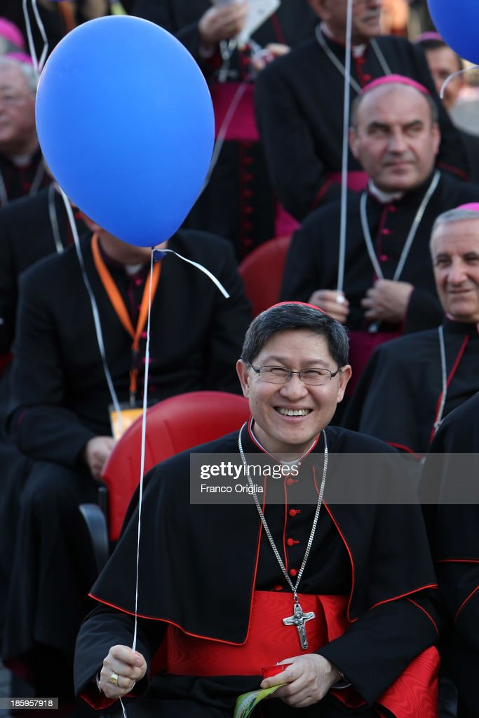 Archbishop of Manila cardinal Luis Antonio G Tagle attends the meeting of prayer of Pope Francis with families at St Peter's Square on October 26...