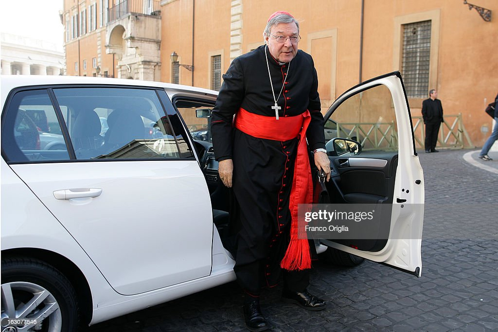 Archbishop of Sydney cardinal George Pell arrives at the Paul VI hall for the opening of the Cardinals' Congregations on March 4, 2013 in Vatican City, Vatican. The congregations of cardinals will continue until all cardinal electors have arrived in Rome, whereupon the College will decide on the start-date of the Conclave to elect a new Pope.