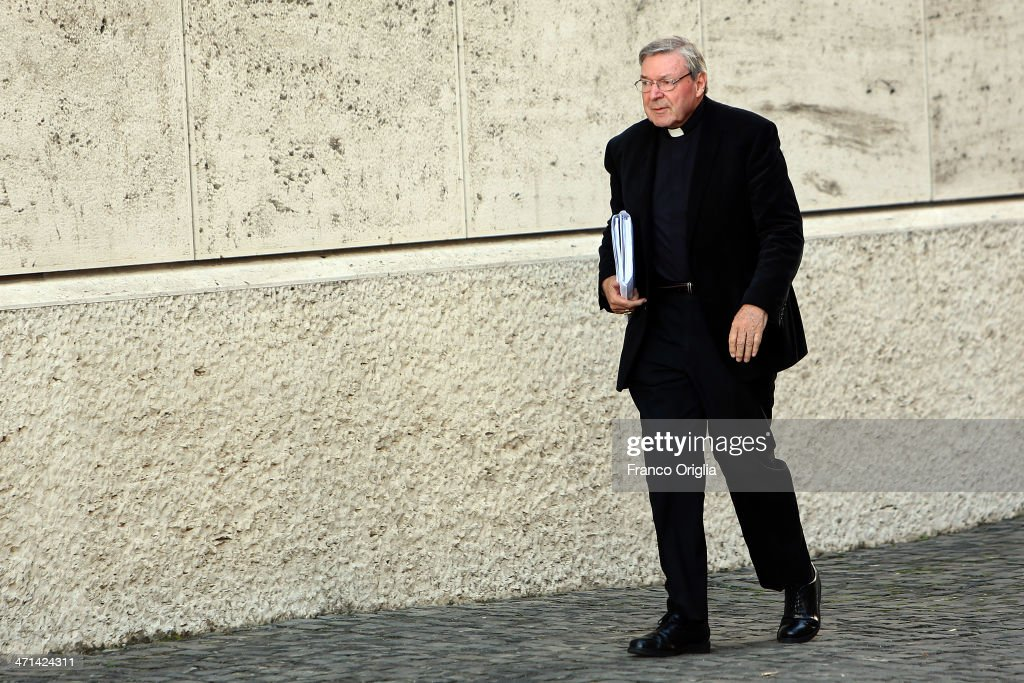 Archbishop of Sydney, Cardinal <a gi-track='captionPersonalityLinkClicked' href=/galleries/search?phrase=George+Pell&family=editorial&specificpeople=695294 ng-click='$event.stopPropagation()'>George Pell</a> arrives at the Paul VI Hall for the Extraordinary Consistory on the themes of Family on February 21, 2014 in Vatican City, Vatican. Pope Francis will create 19 new cardinals during his first consistory on February 22, 2014.